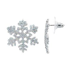 Glitter Snowflake Button Stud Earrings