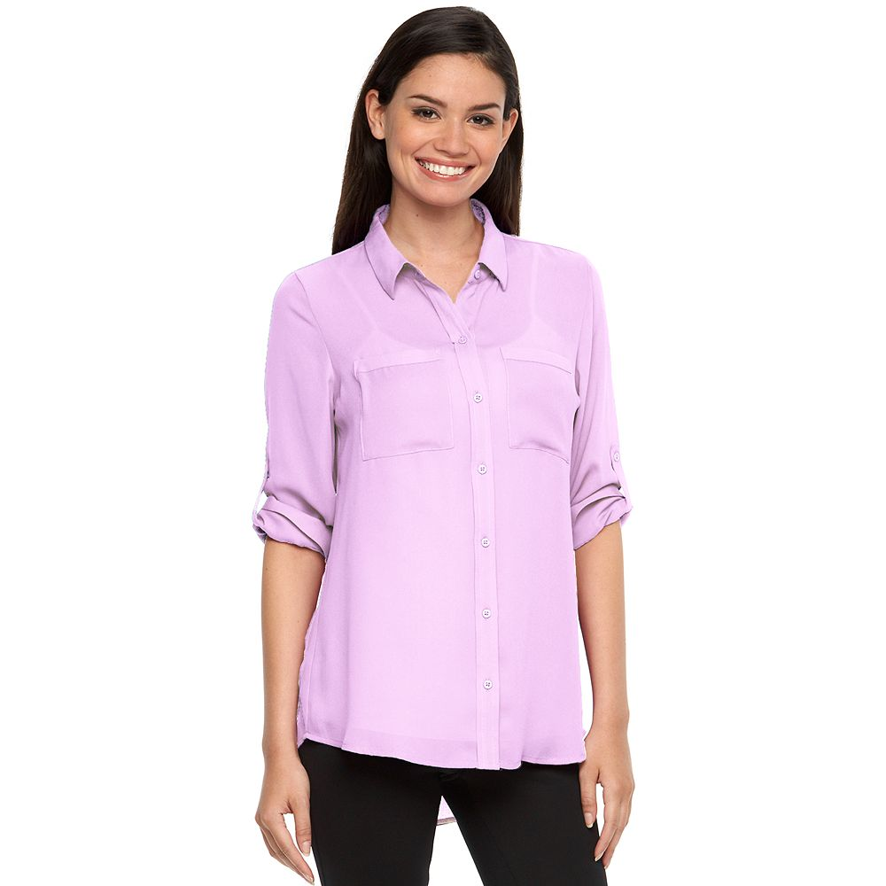 Apt. 9® Solid Roll-Tab Blouse