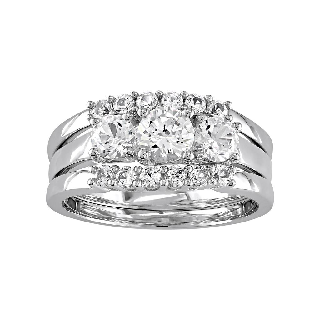 10k White Gold Lab-Created White Sapphire 3-Piece Engagement Ring Set