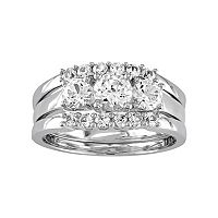 10k White Gold Lab-Created White Sapphire 3 pc Engagement Ring Set