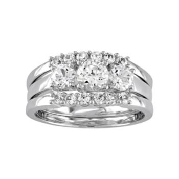 Stella Grace 10k White Gold Lab-Created White Sapphire 3-Piece Engagement Ring Set