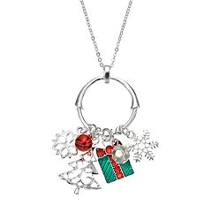Snowflake, Present & Tree Charm Pendant Necklace