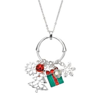 Snowflake, Present and Tree Charm Pendant Necklace