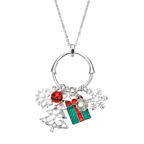 Snowflake, Present & Tree Charm Pendant Necklace