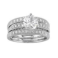 10k White Gold Lab-Created White Sapphire & 3/8 Carat T.W. Diamond 3-Piece Engagement Ring Set