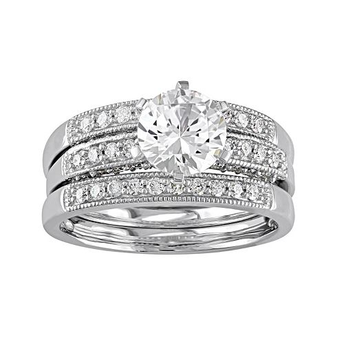 10k White Gold Lab-Created White Sapphire & 3/8 Carat T.W. Diamond 3-Piece Engagement Ring Set