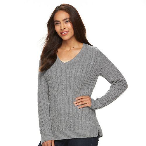 Women s Croft   Barrow® V-Neck Cable Knit Sweater e5dd61ce3