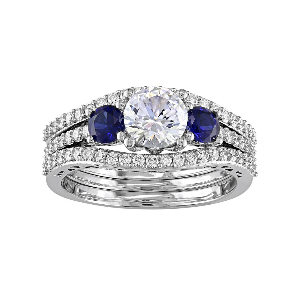 10k White Gold Lab-Created White & Blue Sapphire & 1/2 Carat T.W. Diamond 3-Piece Engagement Ring Set
