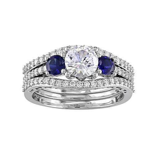 Stella Grace 10k White Gold Lab-Created White & Blue Sapphire & 1/2 Carat T.W. Diamond 3-Piece Engagement Ring Set