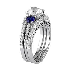 Stella Grace 10k White Gold Lab-Created White & Blue Sapphire & 1/2 Carat T.W. Diamond 3-Piece Engagement Ring Set