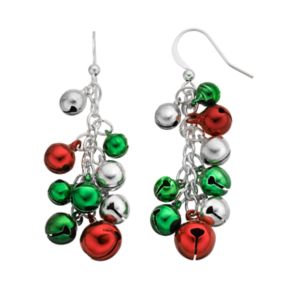 Christmas Jingle Bell Cluster Drop Earrings
