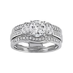 10k White Gold Lab-Created White Sapphire & 1\/4 Carat T.W. Diamond 3-Piece Engagement Ring Set by