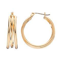 Napier Triple Hoop Earrings