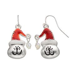 Santa Hat Cat Drop Earrings