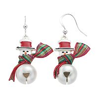 Snowman Jingle Bell Drop Earrings