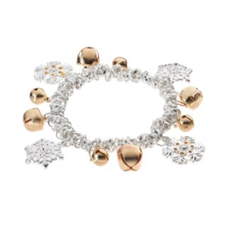 Jingle Bell & Snowflake Charm Two Tone Stretch Bracelet