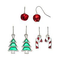 Jingle Bell, Candy Cane & Tree Drop Earring Set