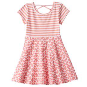 Toddler Girl Jumping Beans® Cross Back Mix Pattern Skater Dress