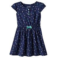 Toddler Girl Jumping Beans® Cap Sleeve Patterned Henley Dress