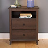 Prepac Yaletown 2-Drawer Tall Espresso Nightstand