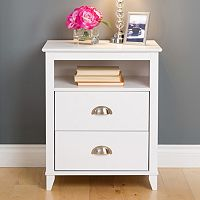 Prepac Yaletown 2-Drawer Tall White Nightstand