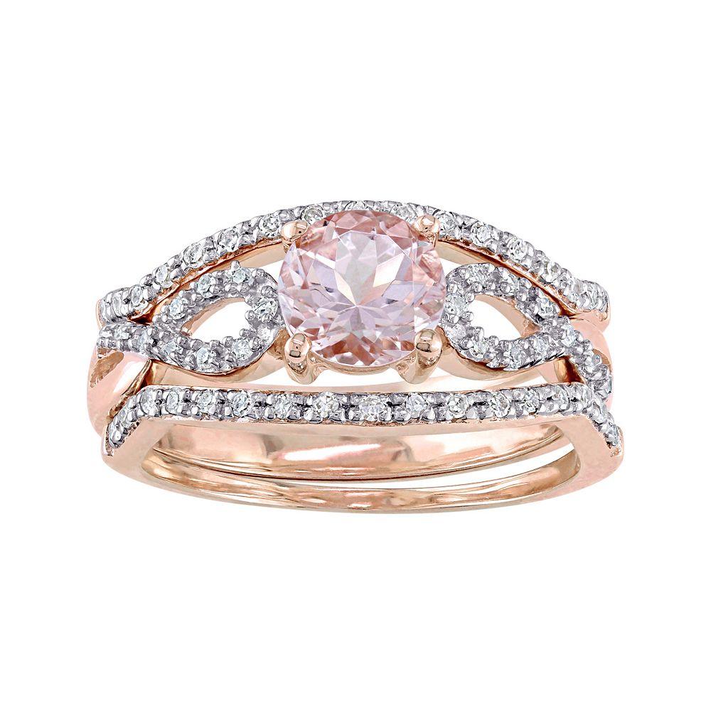 10k Rose Gold Morganite & 1/5 Carat T.W. Diamond Infinity Engagement Ring Set