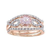 10k Rose Gold Morganite & 1/5 Carat T.W. Diamond Infinity Engagement Ring Set