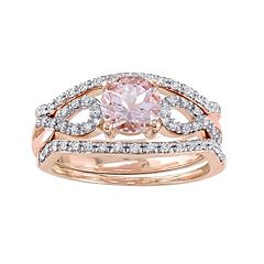 Stella Grace 10k Rose Gold Morganite & 1/5 Carat T.W. Diamond Infinity Engagement Ring Set