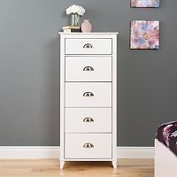 Prepac Yaletown 5-Drawer Tall White Dresser