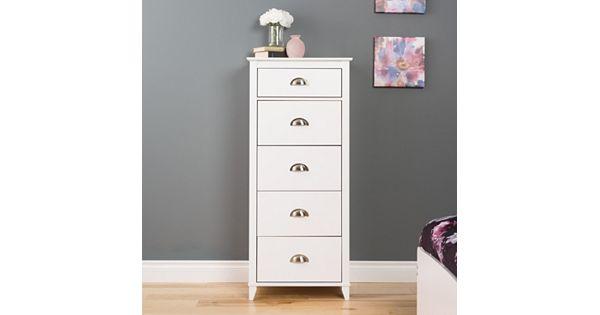 Prepac Yaletown 5 Drawer Tall White Dresser