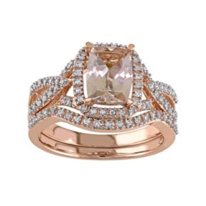 Stella Grace 10k Rose Gold Morganite & 1/4 Carat T.W. Diamond Engagement Ring Set