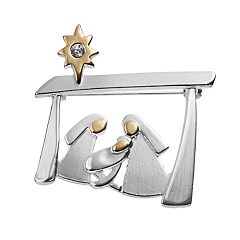Two Tone Manger Scene Pin