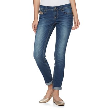 Juniors' Hydraulic Embellished Skinny Jeans
