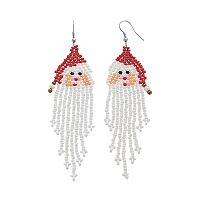 Beaded Santa Claus Drop Earrings