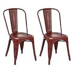 OSP Designs Bristow Distressed Metal Armless Chair 2-piece Set