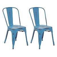 OSP Designs Bristow Distressed Metal Armless Chair 2-piece Set
