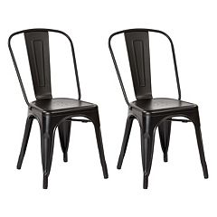 OSP Designs Bristow Distressed Metal Armless Chair 2 pc Set