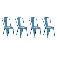 OSP Designs Bristow Armless Metal Dining Chair 4-piece Set