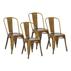 OSP Designs Bristow Armless Metal Dining Chair 4-piece Set