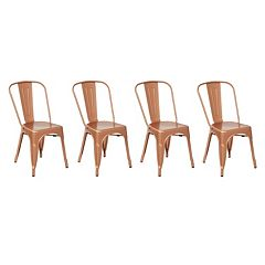 OSP Designs Bristow Armless Metal Dining Chair 4 pc Set