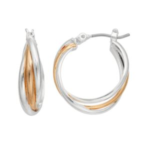 Napier Two Tone Crisscross Hoop Earrings