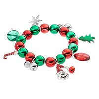 Christmas Charm Beaded Stretch Bracelet