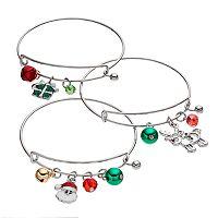 Christmas Gift, Santa, Reindeer & Jingle Bell Charm Bangle Bracelet Set
