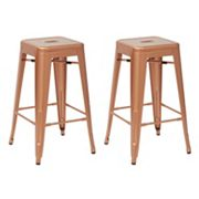 OSP Designs Bristow Stackable Metal Bar Stool 2 pc Set