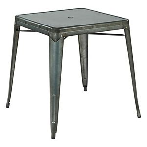 OSP Designs Bristow Umbrella-Ready Metal Dining Table