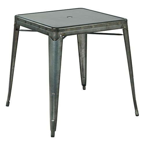 OSP Designs Bristow Umbrella-Ready Metal Dining Table