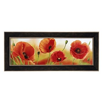 Metaverse Art Poppies In The Wind Framed Canvas Wall Art