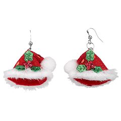 Christmas Sequined Santa Hat Drop Earrings