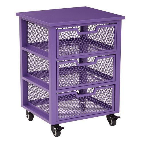 OSP Designs Clayton 3-Drawer Mesh Cage Rolling Cart