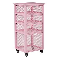 OSP Designs Clayton 4-Drawer Mesh Cage Rolling Cart